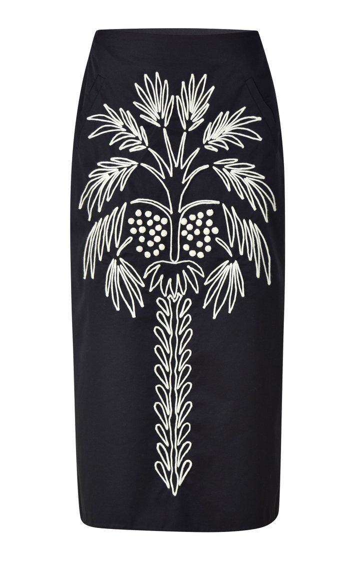 Toile Embroidered Cotton Midi Skirt