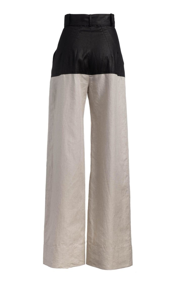 Two-Tone High-Rise Linen Wide-Leg Pant