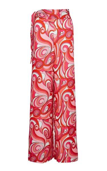 Printed Cotton-Silk Palazzo Pants