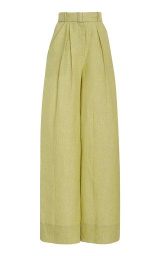 Pleated Linen Wide-Leg Pants