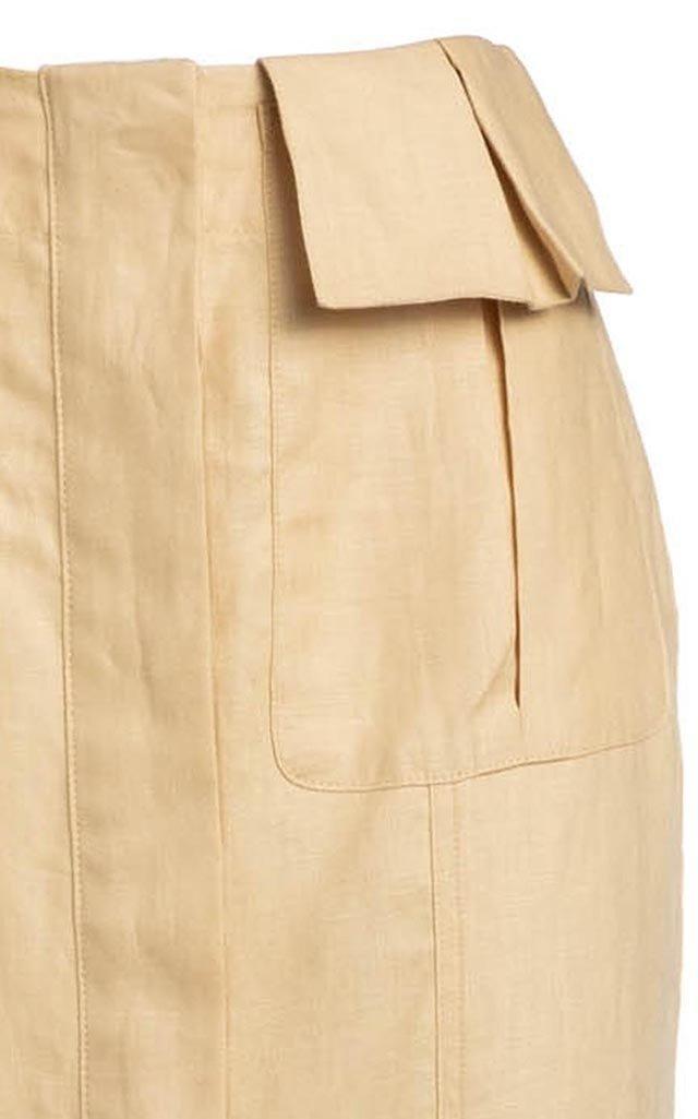 Cargo Linen Midi Skirt