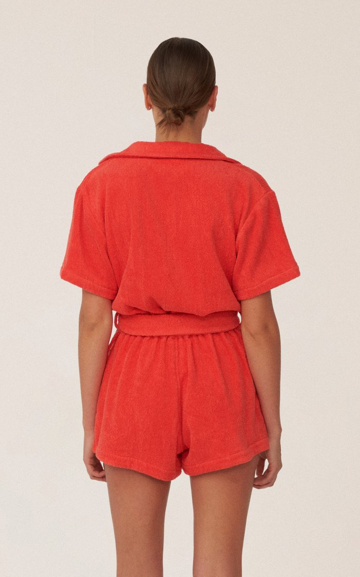 Il Pareo Dyed Cotton-Terry Playsuit