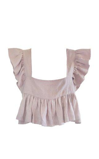 Francesca Ruffled Cotton-Linen Crop Top