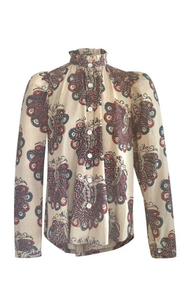 Annabel Puff-Sleeve Peacock-Printed Cotton Top
