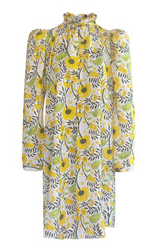 Laura Sunflower-Printed Cotton Mini Shirt Dress