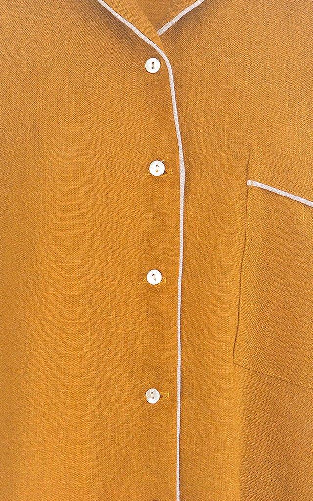 Etoile Heart-Appliqued Cotton-Linen Pajama Set