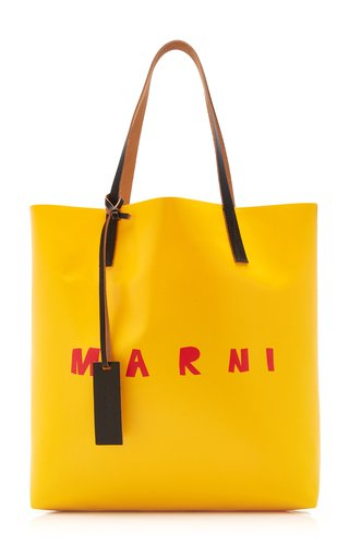 Leather-Trimmed Coated PVC Shopping Tote