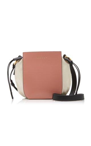 Gusset Leather-Trimmed Shell Shoulder Bag