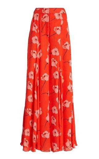 Floral Silk Georgette Wide-Leg Pants