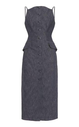 Stretch-Denim Button-Front Midi Dress