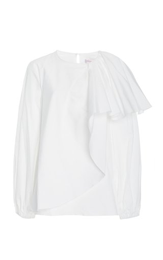 Draped Cotton Poplin Puff-Sleeve Top