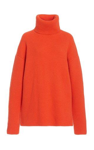 Oversized Ribbed-Knit Cashmere Turtleneck Sweater