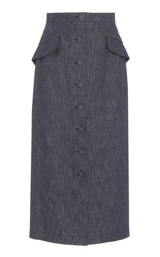 Stretch-Denim Button-Front Midi Skirt