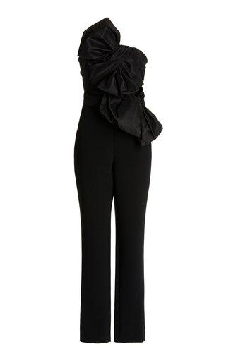 Taffeta-Bow Crepe Strapless Jumpsuit