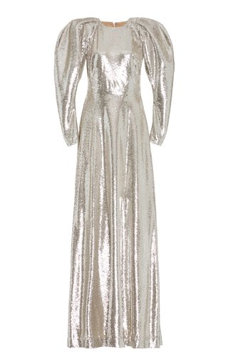 Puff-Sleeve Sequined Gown