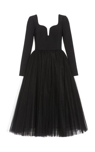 Stretch-Crepe Midi Dress