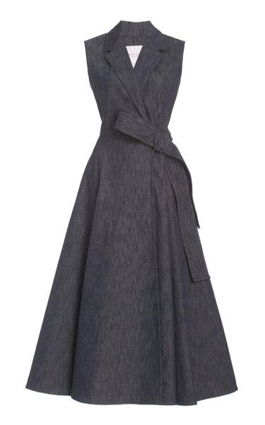 Belted Stretch-Denim Midi Wrap Dress