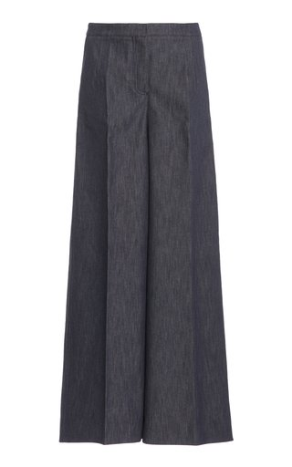 Stretch Denim Wide-Leg Trousers