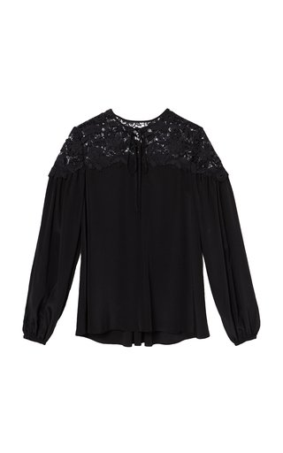 Lace-Inset Silk Crepe De Chine Puff-Sleeve Top