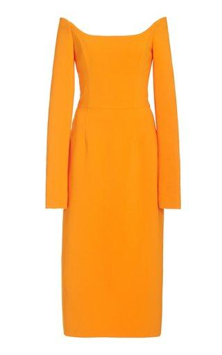 Crepe Off-The-Shoulder Midi Dress