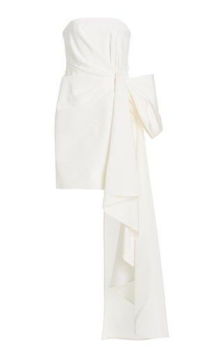 Bow-Detailed Silk Faille Strapless Mini Dress
