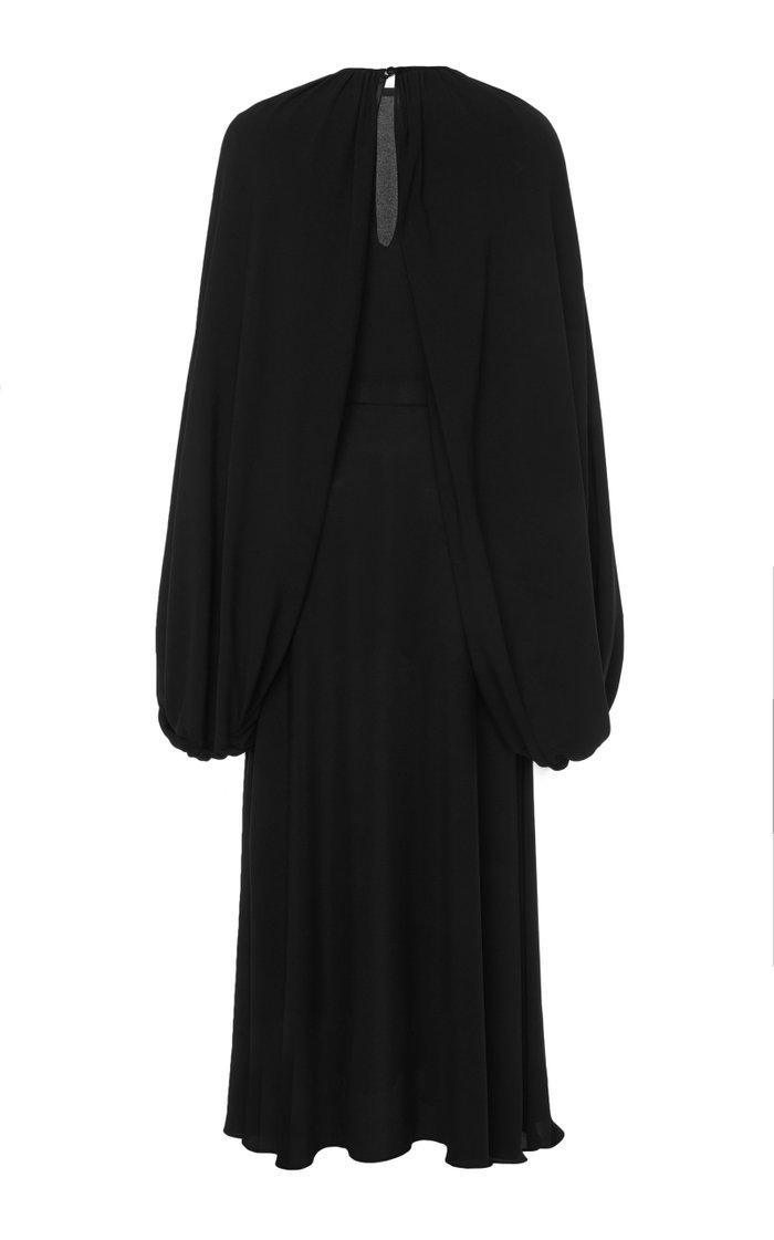 Draped Silk Georgette Midi Dress