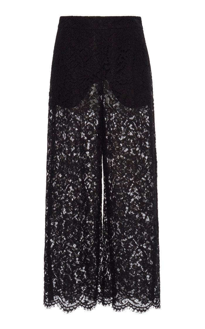 Cropped Lace Wide-Leg Pant