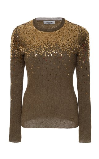 Sequin-Embellished Knitted Sweater