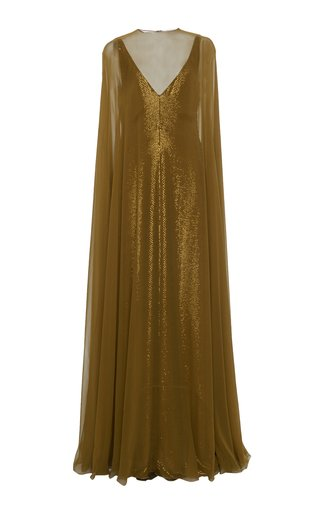 Silk-Overlay Metallic Cape Gown