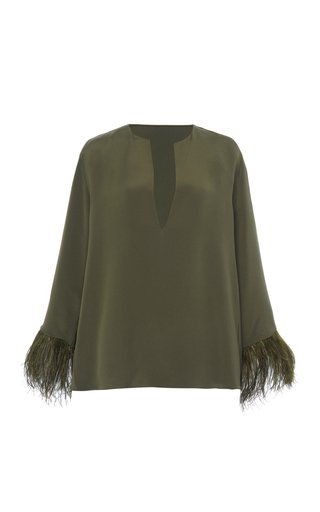 Feather-Trimmed Silk Cady Top
