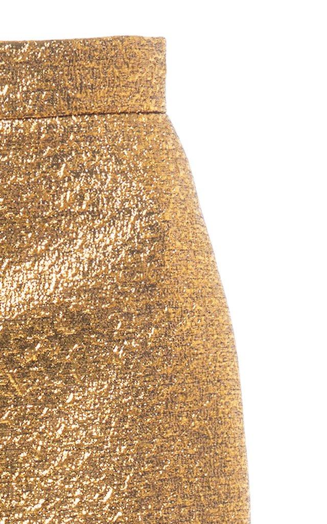 High-Rise Metallic Midi Skirt