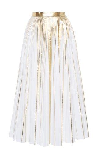 A-Line Metallic Cotton-Blend Skirt