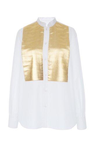 Metallic Bib-Front Cotton-Blend Shirt