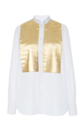 Metallic Bib-Front Cotton-Blend Shirt