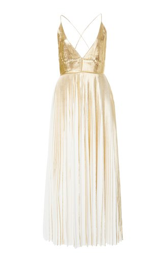 Metallic V-Neck Maxi Dress