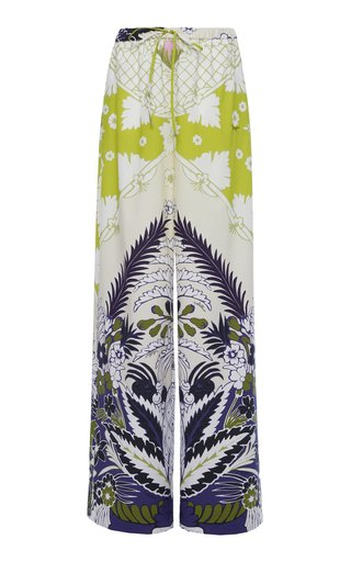 Mid-Rise Printed Wide-Leg Cotton Pant