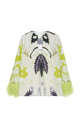 Printed Cotton Feather-Trimmed Top