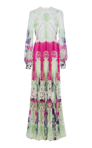 Puff-Sleeve Pleated Printed Silk Gown