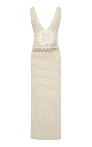 Crochet-Knit Cotton Midi Dress
