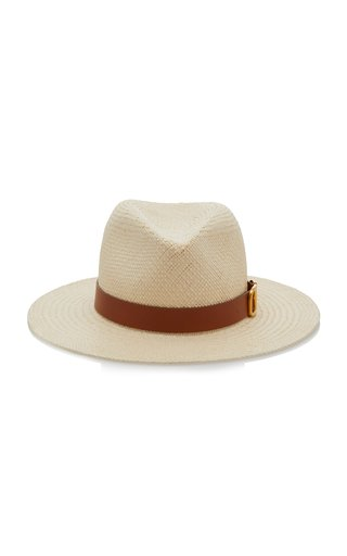 Valentino Garavani Leather-Trimmed Straw Fedora