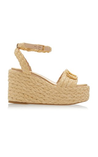 Valentino Garavani Rafia Espadrille Wedge Sandals