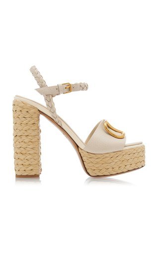 Valentino Garavani Leather Espadrille Platform Sandals