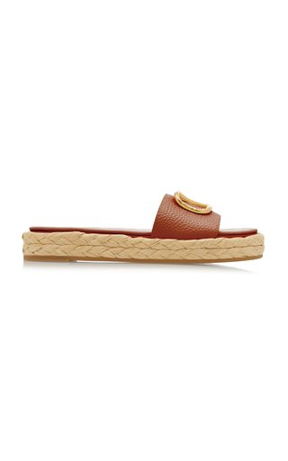 Valentino Garavani Leather Espadrille Slides