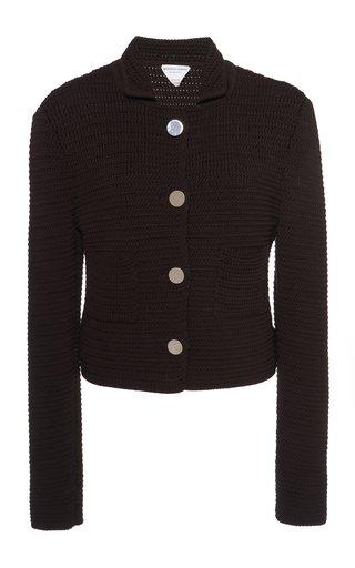 Cotton-Blend Knit Cardigan Jacket