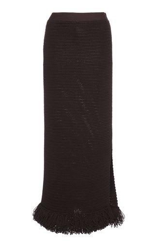 Fringed Cotton-Blend Knit Midi Skirt