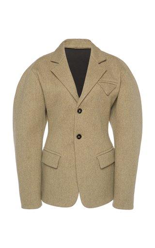 Puffed-Sleeve Wool Blazer