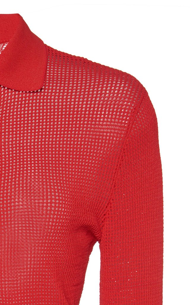 Ribbed-Knit Button-Down Top