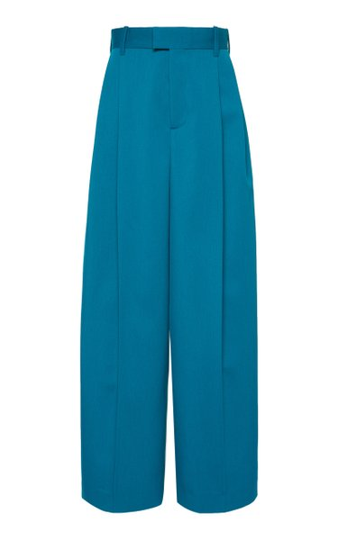 Pleated Gabardine Wide-Leg Pants