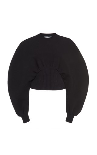 Ribbed-Trim Wool Knit Sweater