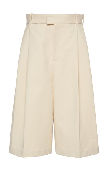 Pleated Cotton Shorts